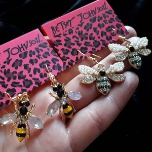 Betsey Johnson Bee Earrings - Two Pairs
